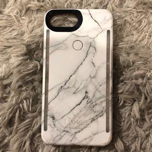 White marble iPhone 8+ LuMee case
